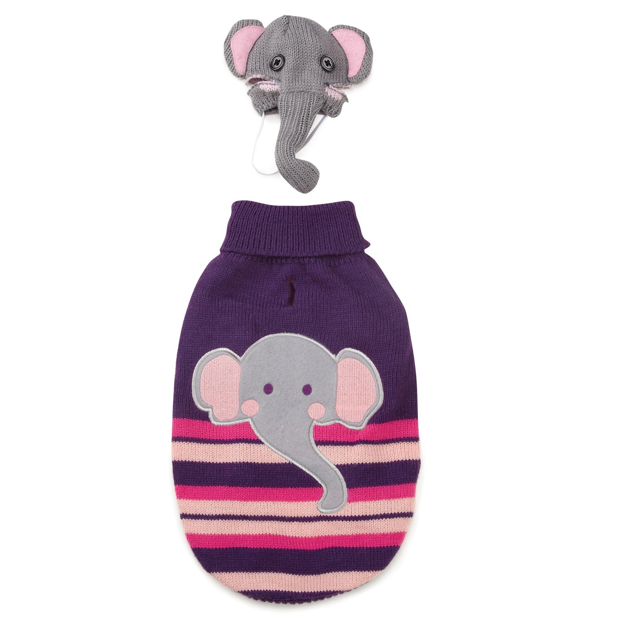 Zack & Zoey Piggy Back Pals Sweater and Hat Set for Dogs, 8'' XX-Small, Elephant