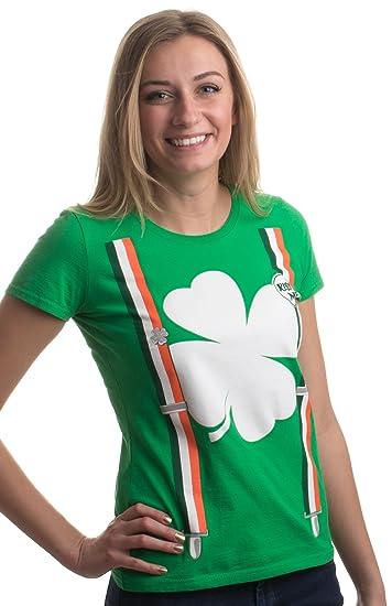 26ae29cd5 St. Patrick's Day Shamrock Suspenders | Funny St. Paddy Irish Women's T- Shirt