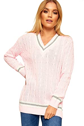 d92c127a3 Ladies Knitted V Neck Cable Cricket Jumper Long Sleeve Womens ...