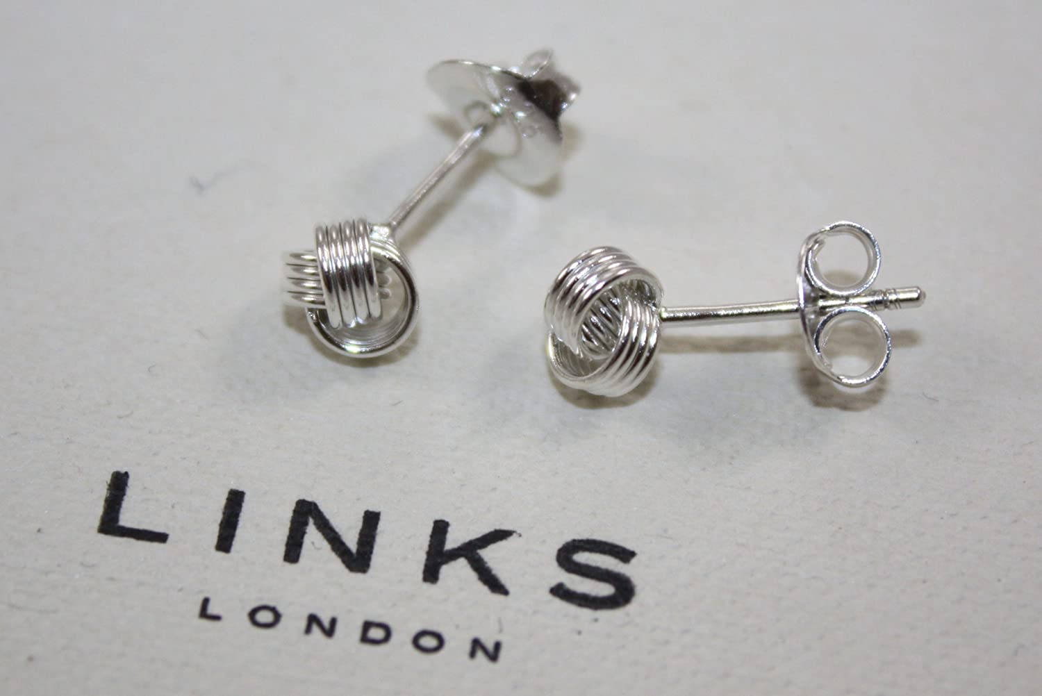GIFT BOXED GENUINE LINKS OF LONDON STERLING SILVER BABY KNOT STUD EARRINGS