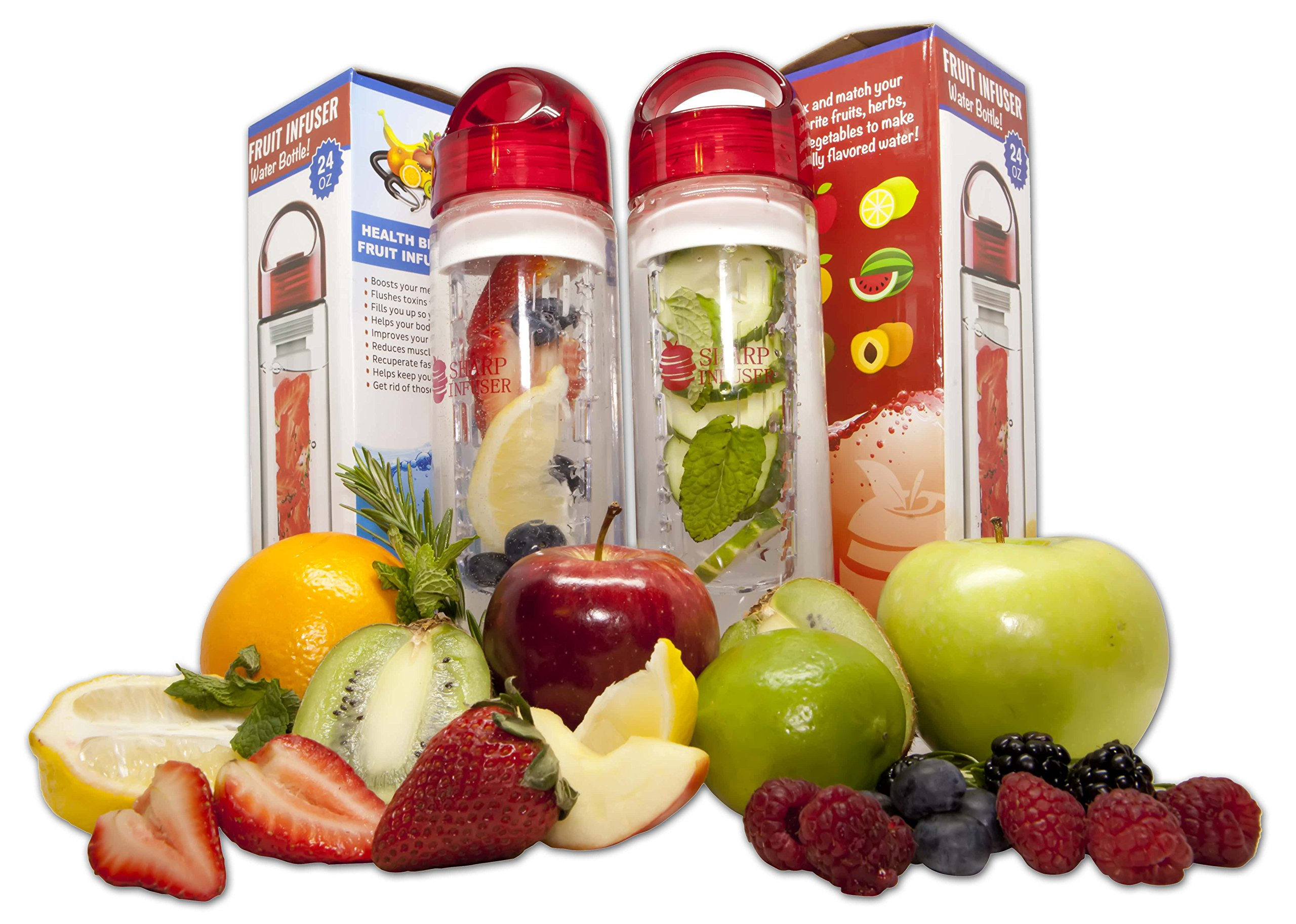 Fruit Infuser Water Bottle 24 oz -- (2 PACK) -- Detox Your Body With Naturally Flavored Infused Water -- Made of BPA Free Tritan Plastic. FREE Fitness Recipes eBook Included!