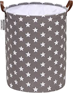 Sea Team Star Pattern Laundry Hamper Canvas Fabric Laundry Basket Collapsible Storage Bin with PU Leather Handles and Drawstring Closure, 17.7 by 13.8 inches, Waterproof Inner, Grey