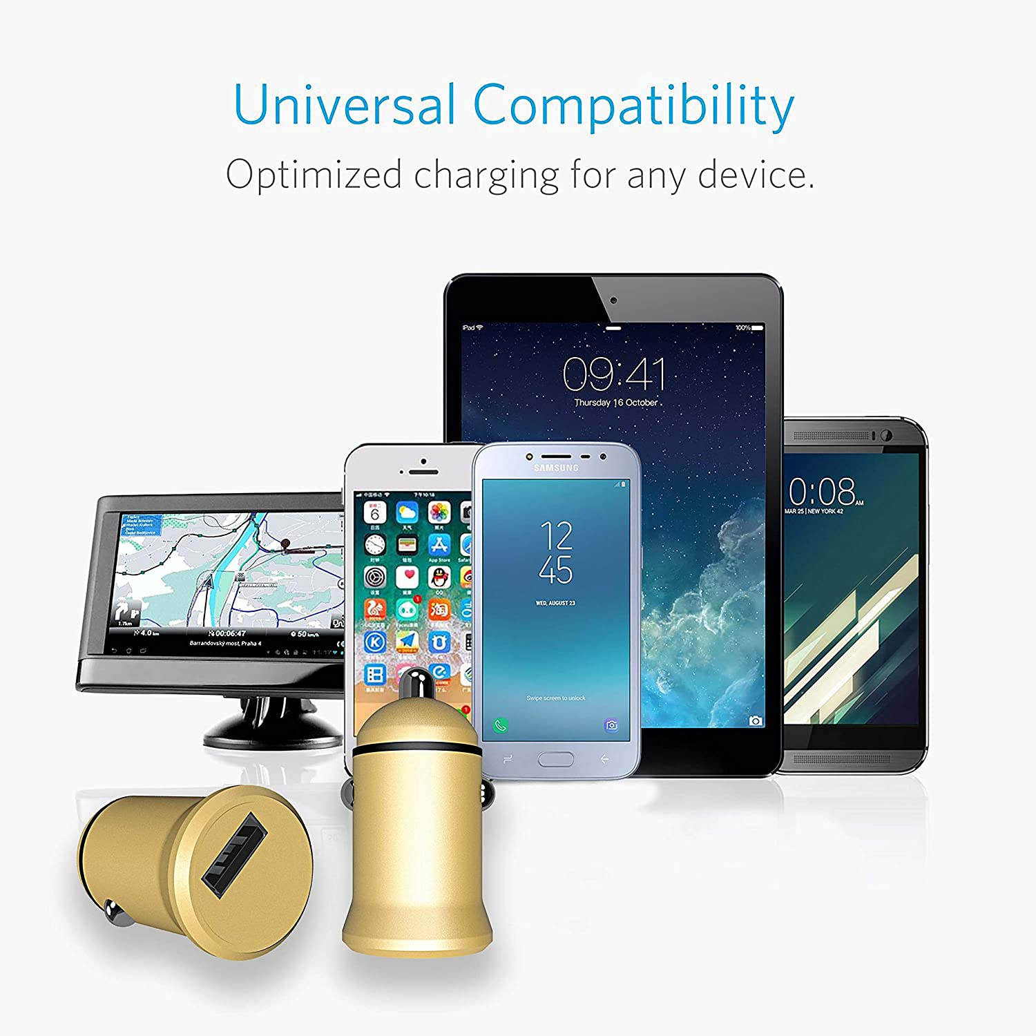 one 3.1A Output for iPhone Xs//Max//XR//X//8 iPad Pro//Air 2//Mini QC 3.0 Dual Port one 2.4A Huawei Y7 Samsung Galaxy J5//J7//S5//S6//S7//Note9//Note8//S9//S9+ and More Koluman KC-C700 Car Charger