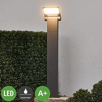 LED Lámpara para exterior Marius (Moderno) en Gris hecho de Aluminio (1 llama, A+) de Lucande | iluminación de senderos, baliza, iluminación de senderos, farola: Amazon.es: Iluminación