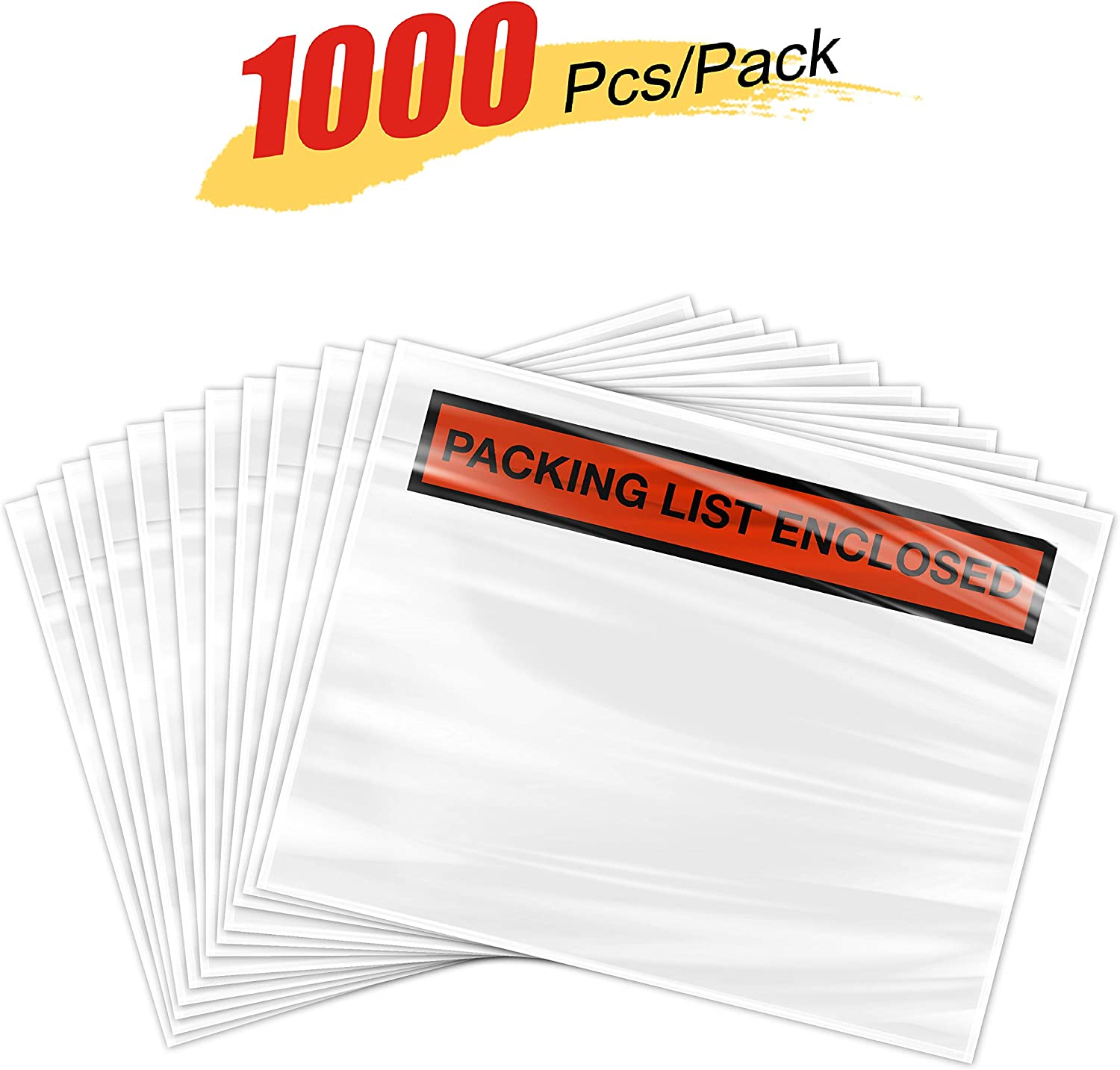"Invoice Packing Enclosed Pouches Self-Adhesive /""Packing List Enclosed/"" Printed on Red Background 8 NET 1000 Pieces 7.5/'/' x 5.5/'/' Clear Packing List Envelopes"