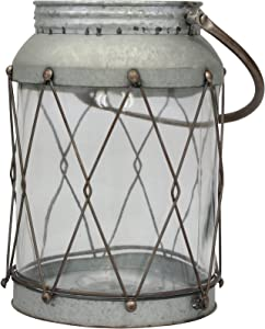 Stonebriar Rustic Galvanized Metal and Glass Candle Lantern with Handle, 9.5 Inch, Gray