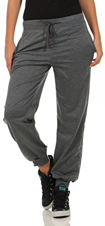 Malito Damen Jogginghose im Classic Look | Sporthose in Unifarben | Baggy zum Tanzen | Sweatpants - Trainingshose H1206