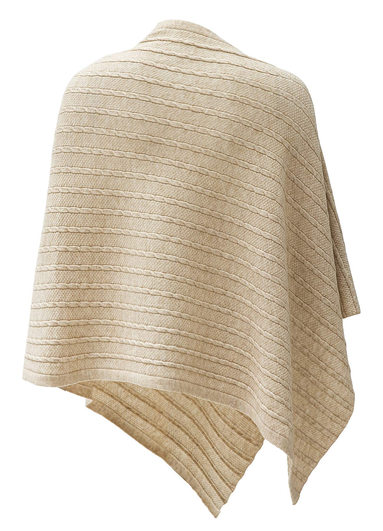 Womens Cable Pattern Lightweight Kintted Poncho Sweater with Shell Button, Versatile Scarf Shawl Cape for Spring Summer Autumn, Barley Twist by Puli (Image #2)
