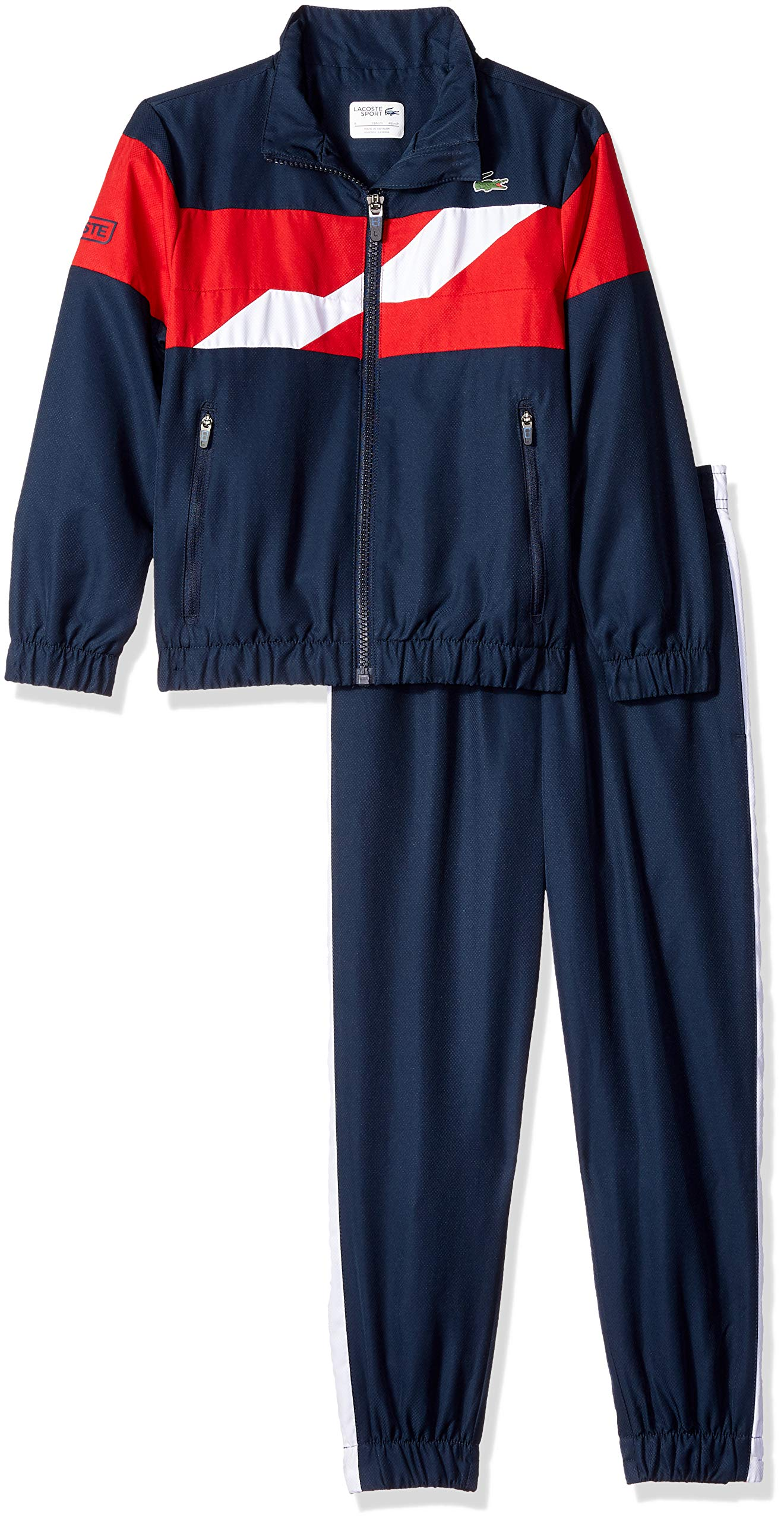 Lacoste Little Boy Sport Taffetas Color Block Chest Band Tracksuits, Navy Blue/Lighthouse red, 4