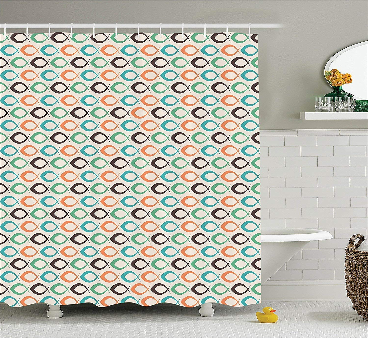 Diversión sexy werert Fish Retro Shower Curtain Retro Fish Decor, Retro Fish Pattern Underwater World Aquatic Decorative Fun Art Prints, Bathroom Accessories 60 X 72 437dc3