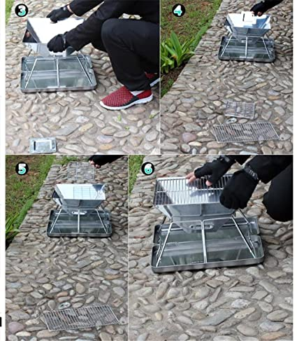 HomJo Barbacoa grill Parrilla de barbacoa de barbacoa de carbón de leña de acero inoxidable pedestal de acero inoxidable , 1: Amazon.es: Hogar