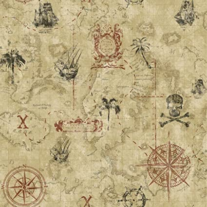 York Wallcoverings Cool Kids Pirate Map Removable Wallpaper