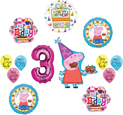 Mayflower Products Peppa Pig Pink 3rd Birthday Party Balloon Supplies and Decorations kit