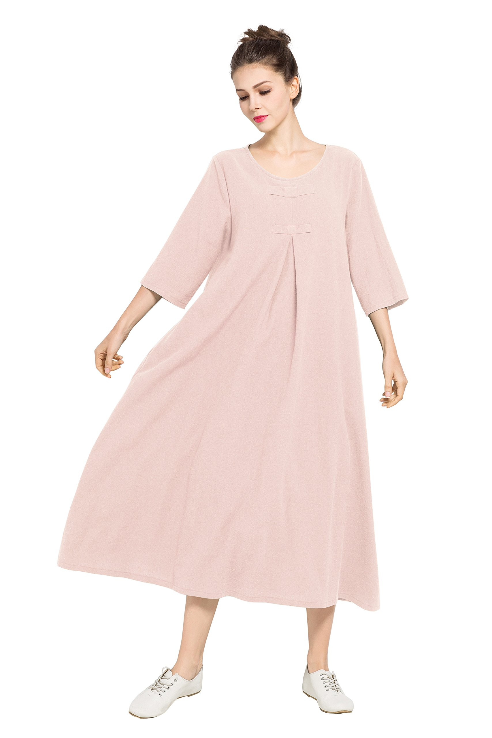 Anysize Spring Summer Dress Soft Linen Cotton Maxi Dress Plus Size Clothing F120A