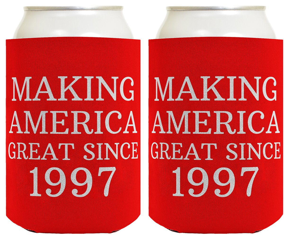 Republican Gifts for 21st Birthday Making America Great Since 1997 21st Birthday Gag Gifts for Republican Party 2 Pack Can Coolie Drink Coolers Coolies Red by Birthday Gifts For All