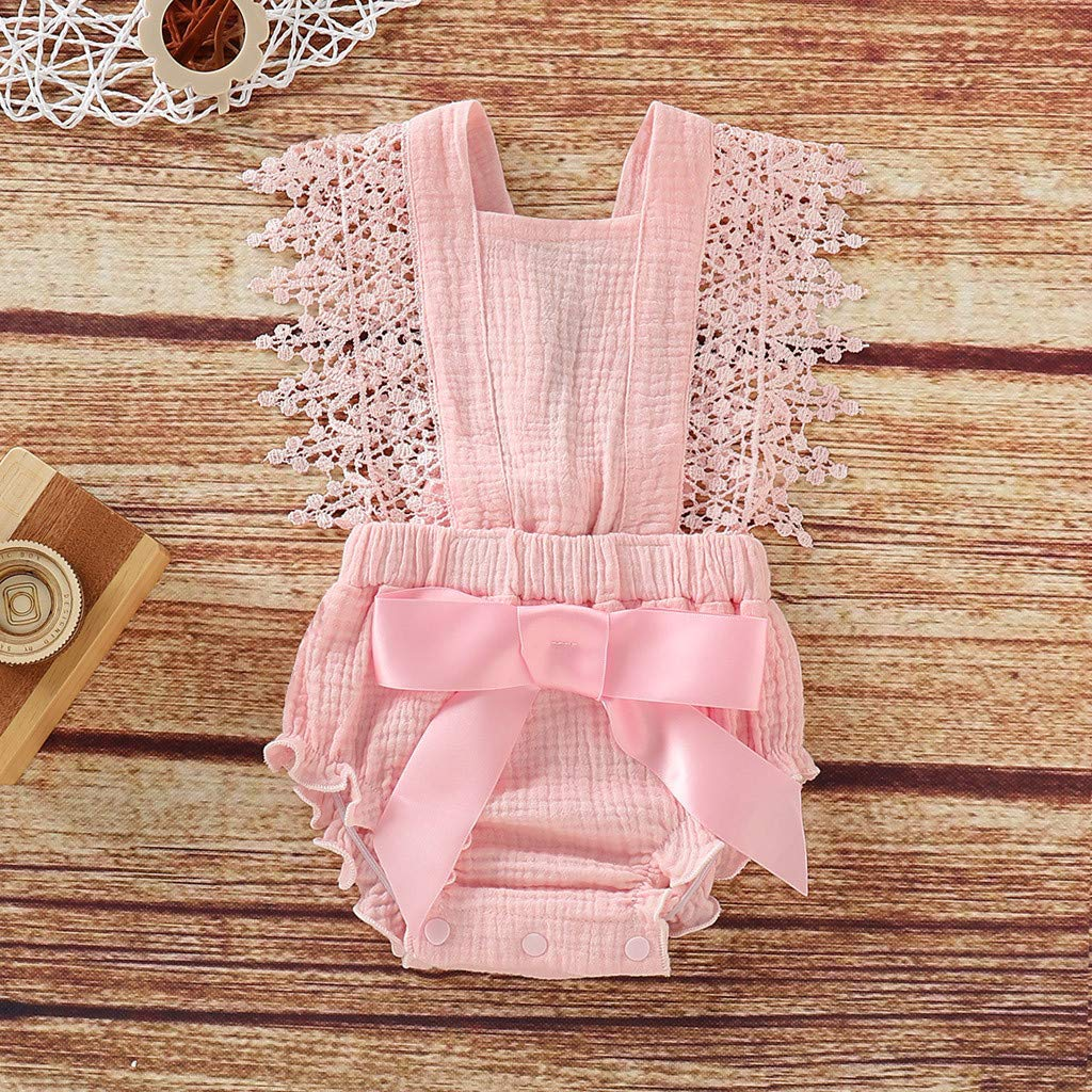 MORETIME 2020 Newborn Baby Girl Cotton Linen Solid Candy-Colored Romper Bodysuits Playsuit Onesies Ruffle Sleeveless One-Piece Bodysuit Infant Summer Outfits Lace Bowknot Babys Clothes