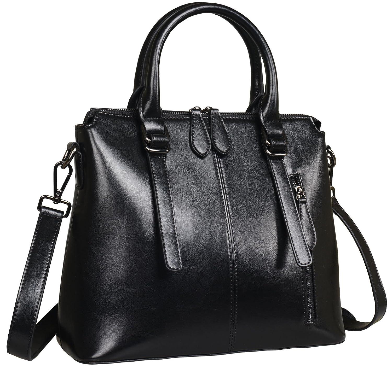 Amazon.com  Heshe Womens Leather Shoulder Handbags Tote Top Handle Bags  Crossbody Handbag and Satchel and Purse for Ladies (Black-R)  Shoes 2b855a8577e22