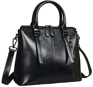 89e50cb8e8 Amazon.com  Heshe Womens Leather Shoulder Handbags Tote Top Handle Bags  Crossbody Handbag and Satchel and Purse for Ladies (Black-R)  Shoes