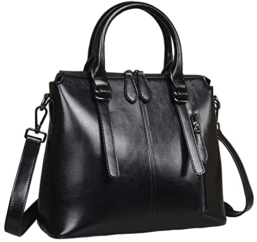 Amazon.com  Heshe Womens Leather Shoulder Handbags Tote Top Handle Bags  Crossbody Handbag and Satchel and Purse for Ladies (Black-R)  Shoes 2b855a8577e22