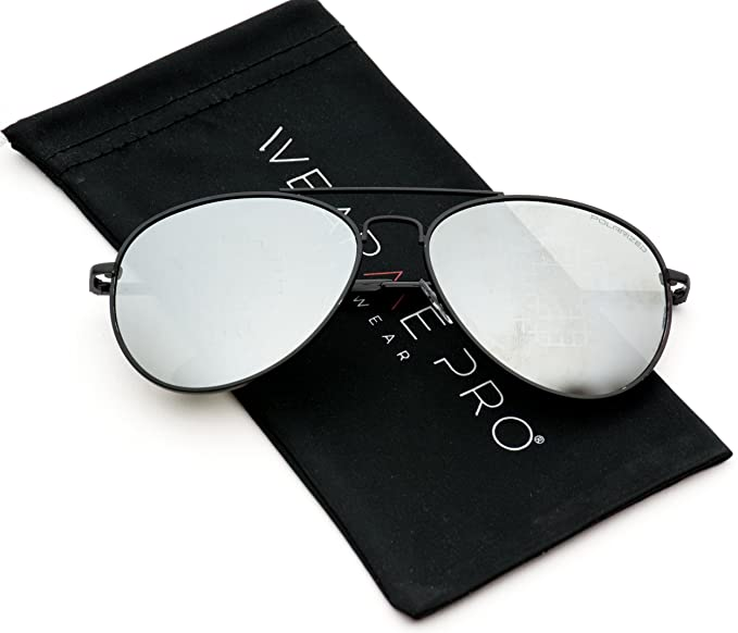 769a6020fdde Premium Polarized Mirrored Aviator Sunglasses w Flash Mirror Lens (Black  Frame Mirror Silver