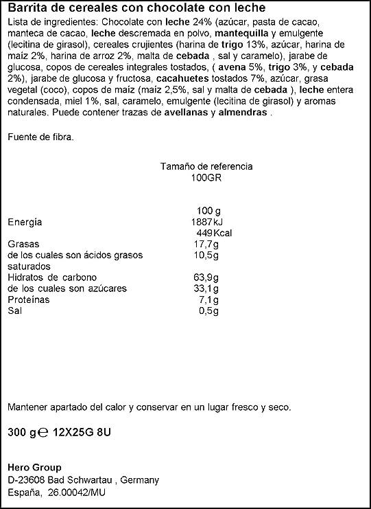 Hero Muesly Muesli con Chocolate - Paquete de 12 x 25 gr - Total: 300 gr: Amazon.es: Alimentación y bebidas