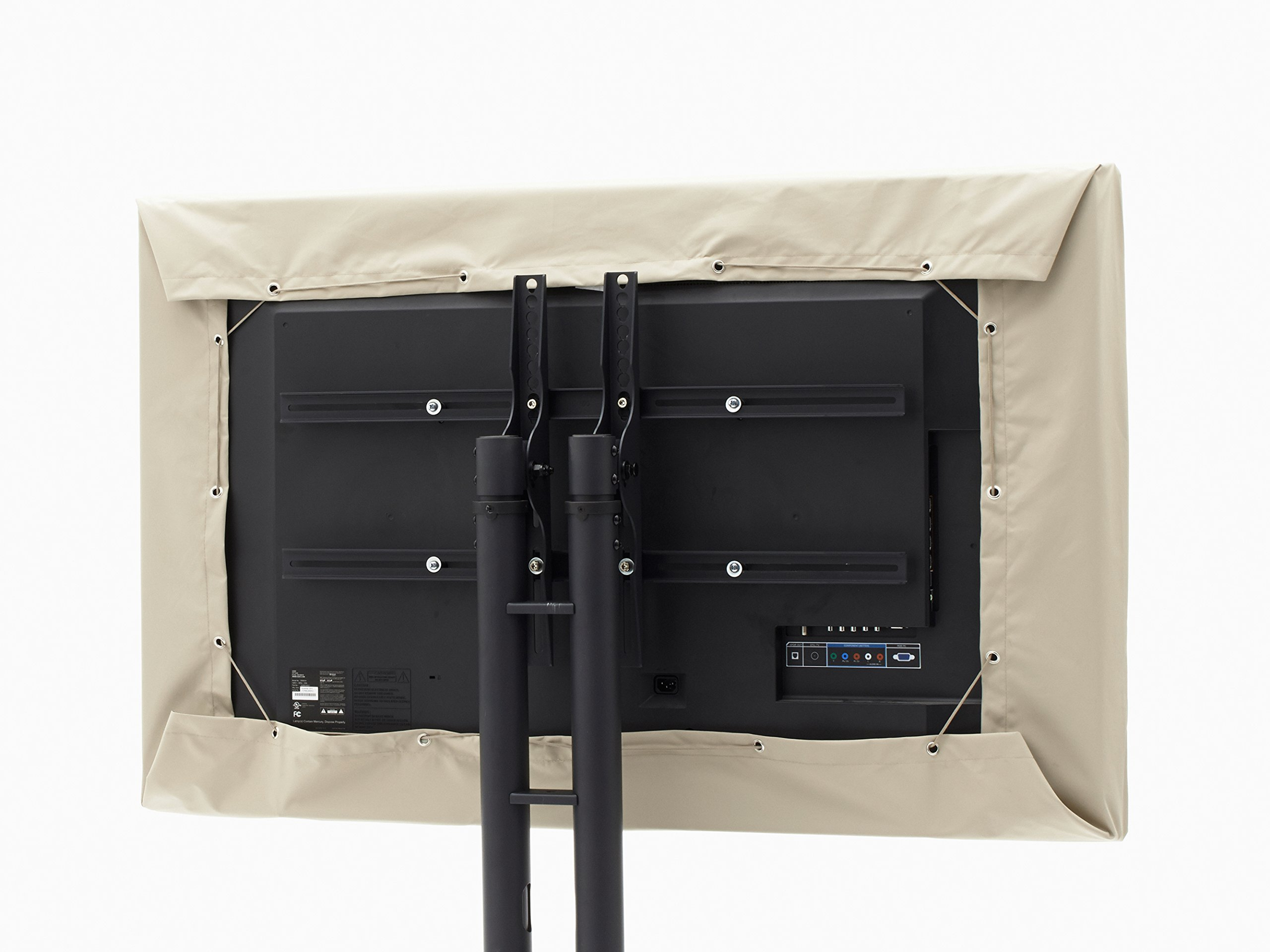 CoverMates - Outdoor Half TV Cover - Fits 55 to 59 Inch TV's - Elite - 300 Denier Stock-Dyed Polyester - Half Coverage - Easy On and Off Drawcord - 3 YR Warranty - Water Resistant - Khaki by CoverMates
