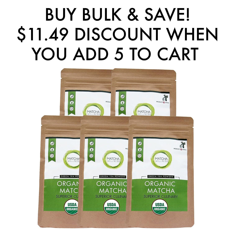 Té verde matcha en polvo - japonés orgánico antioxidante culinario. Energía Natural & Foco Booster Embalado con Antioxidantes.