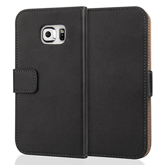 best service a7b16 ed397 Caseflex Samsung Galaxy S6 Edge Real Leather Wallet Case - Black