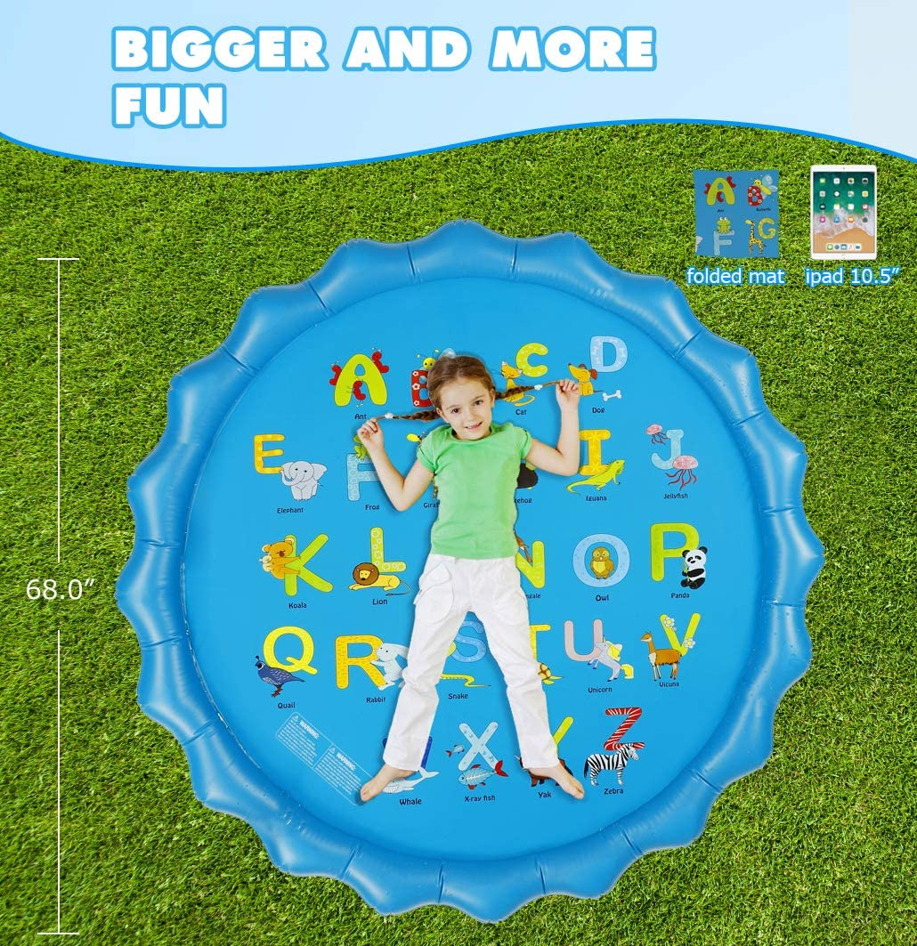 """Neoformers Splash Pad Sprinkler for Kids Toddlers Outdoor Inflatable Wedding Pool Toy for Learning 68/"""" Fun Summer Backyard Fountain Play Mat for Babies 3-12 Year Old Boys and Girls"""