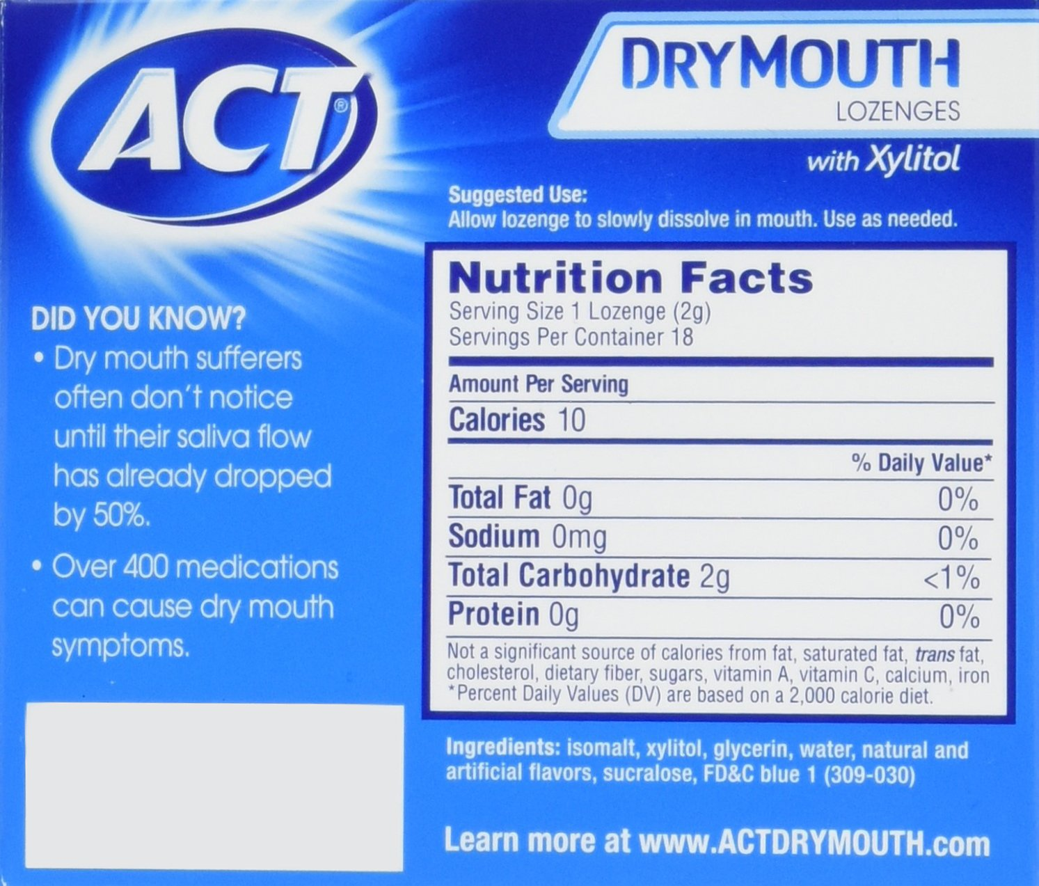 ACT Total Care, Dry Mouth Lozenges, 18 Count (Pack of 6), Soothing Mint Flavored Lozenges with Xylitol Help Moisturize Mouth Tissue to Sooth and Relieve Discomfort from Dry Mouth, Freshens Breath by ACT (Image #2)