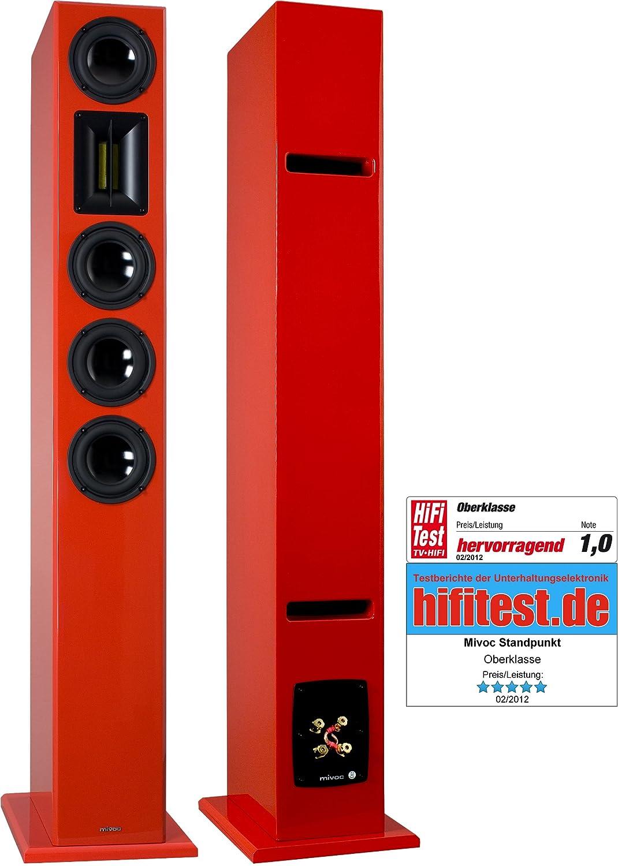 1 Paar mivoc Standpunkt rot 3-Wege Standlautsprecher 200 Watt R.M.S. ...