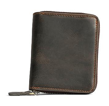 8214bea4c1876 Lange Roth Echt Leder Brieftasche Geldbörse mit Reißverschluss Portemonnaie  Geldbeutel naturbelassenem Büffelleder mit Abnutzungslook Vintage robust  Damen