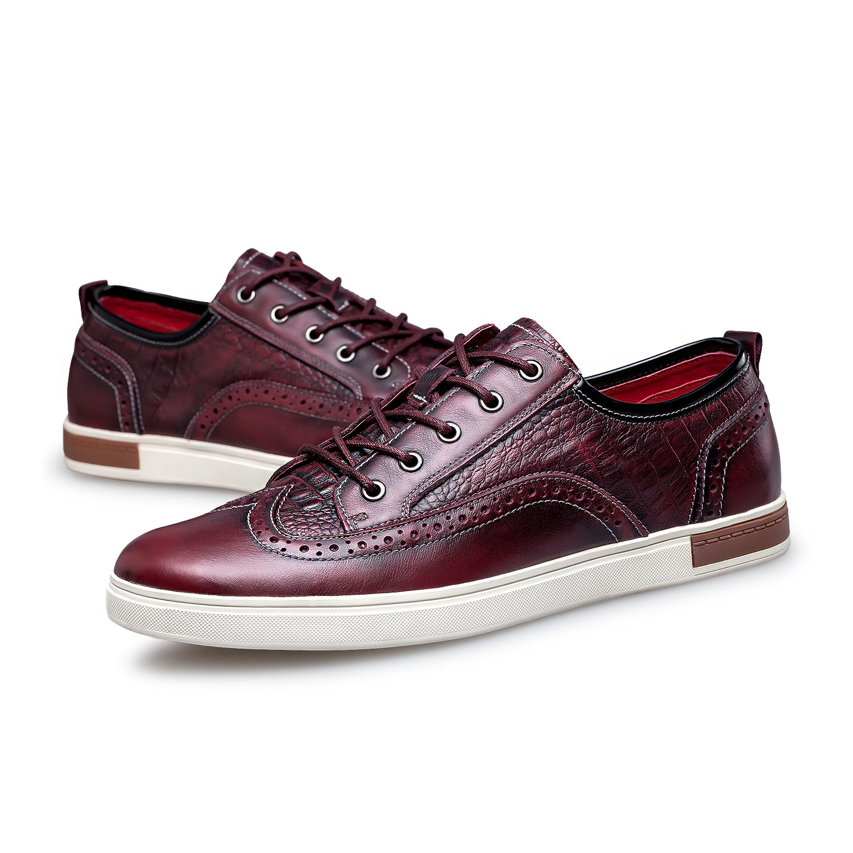 ZRO Men's Wingtip Casual Leather Oxford Sneaker Shoes Wine US 11 by ZRO (Image #6)