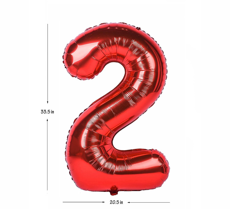 Zero-Nine Mylar Birthday Party Decorations of Arabic Numerals 9 40 Inch Helium Balloon Red Ballon Numbers 0-9