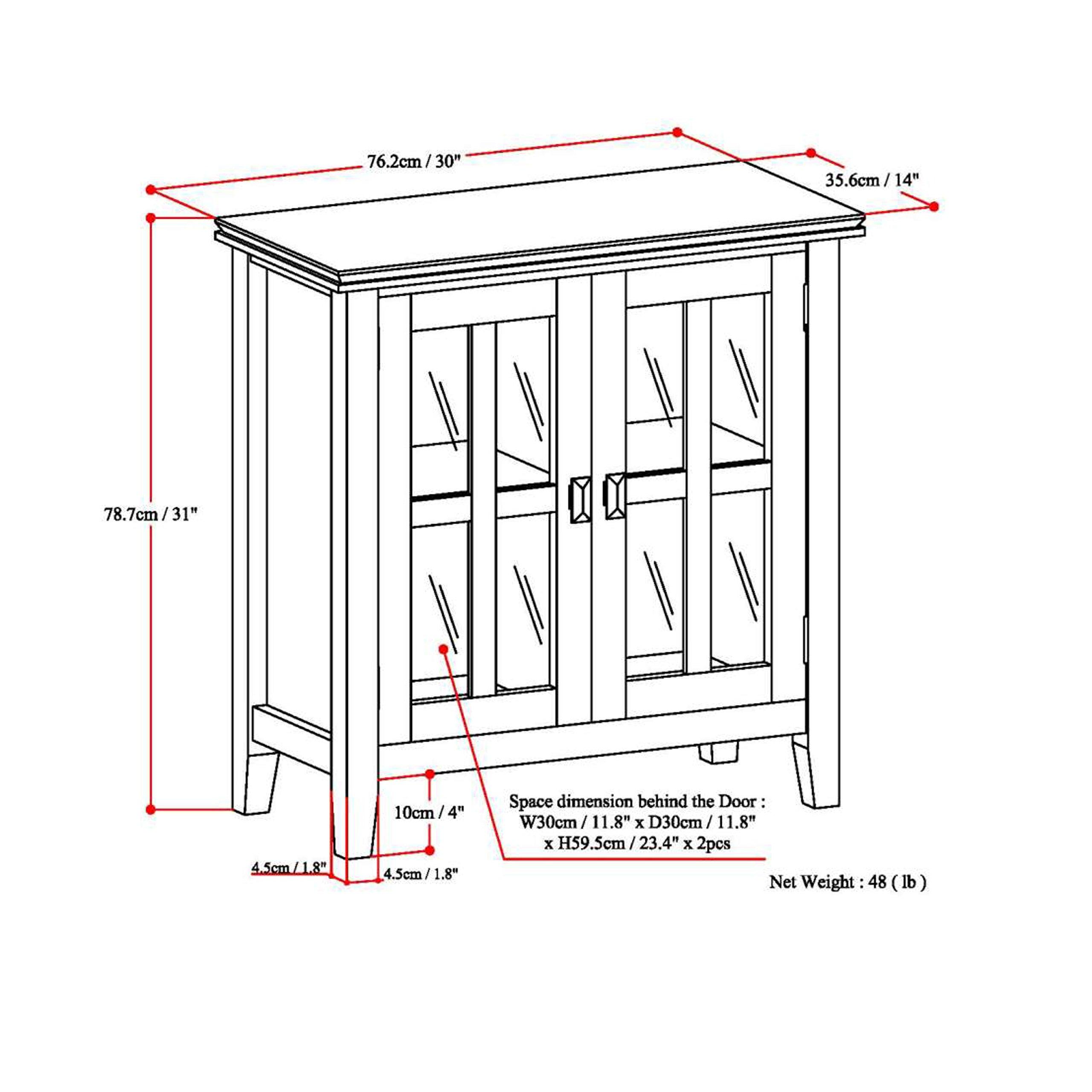 Simpli Home Artisan Solid Wood Low Storage Cabinet, Medium Auburn Brown by Simpli Home (Image #6)