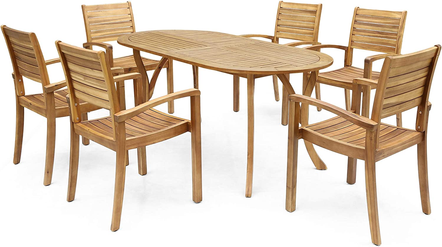Christopher Knight Home 306487 Powell Outdoor 6-Seater Oval Acacia Wood Dining Set, Teak Finish 81UdyFjLeMLSL1500_