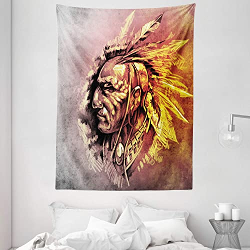 Ambesonne Native American Tapestry, Native Tribal Chief Illustration Grunge Style Eagle Spirit Ethnic Print, Wall Hanging for Bedroom Living Room Dorm, 60 W X 80 Inches, Brown Yellow