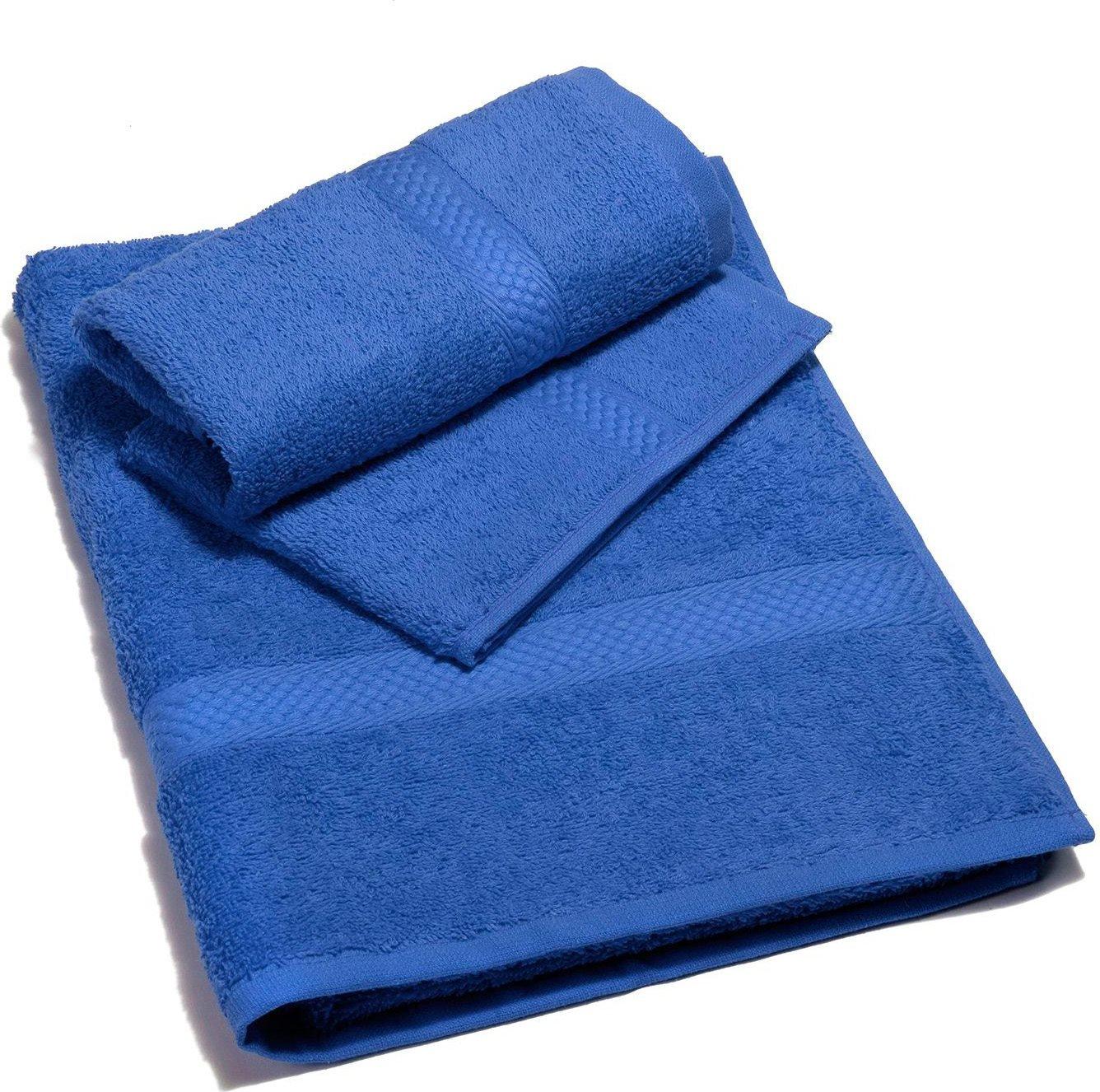 Caleffi Set Asciugamani Bagno Spugna Cotone 2pz. 40x60/55x105 cm Blu Minorca