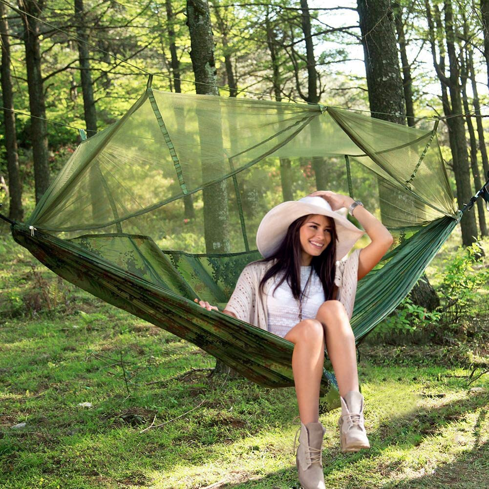 Portable Hammock With Mosquito Net 2 Person Hammock With Tree Straps For Hiking Backpacking Travel Beach Yard Ultralight Waterproof Nylon Camping Hammock Tarp Rain Fly Tent Picnic Cloth Camping Furniture Sports