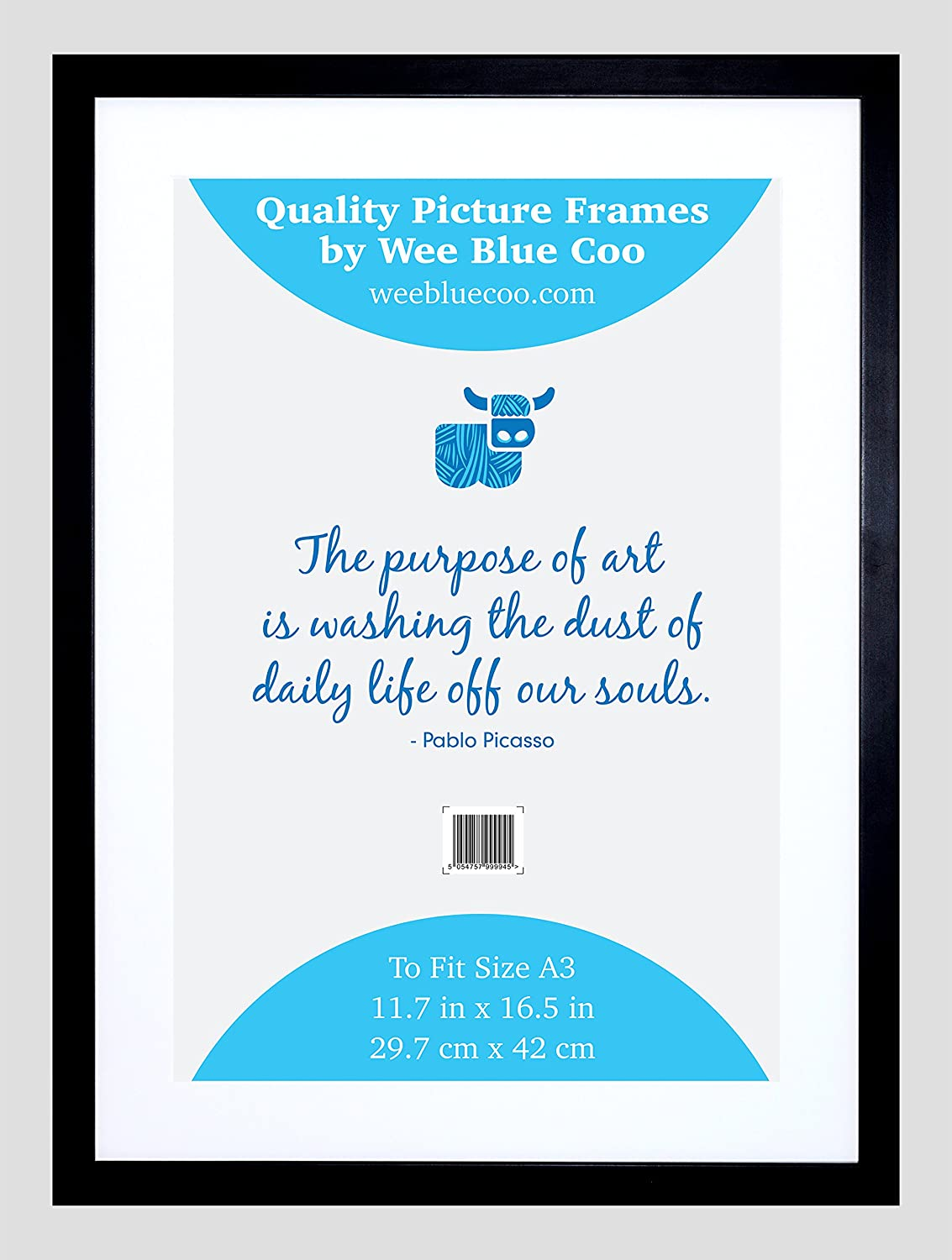 Wee Blue Coo A3 Black Wooden Picture Frame 11.7 x 16 Inch Acrylic Safety 'Glass' Photo Frame FRA019