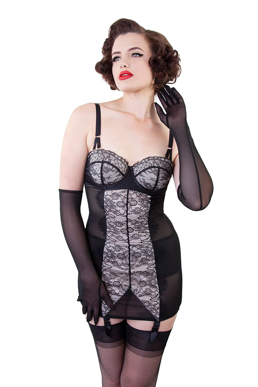 Retro Lingerie, Vintage Lingerie, New 1950s,1960s, 1970s Bettie Page Lace Curve Creator Slip by $98.00 AT vintagedancer.com