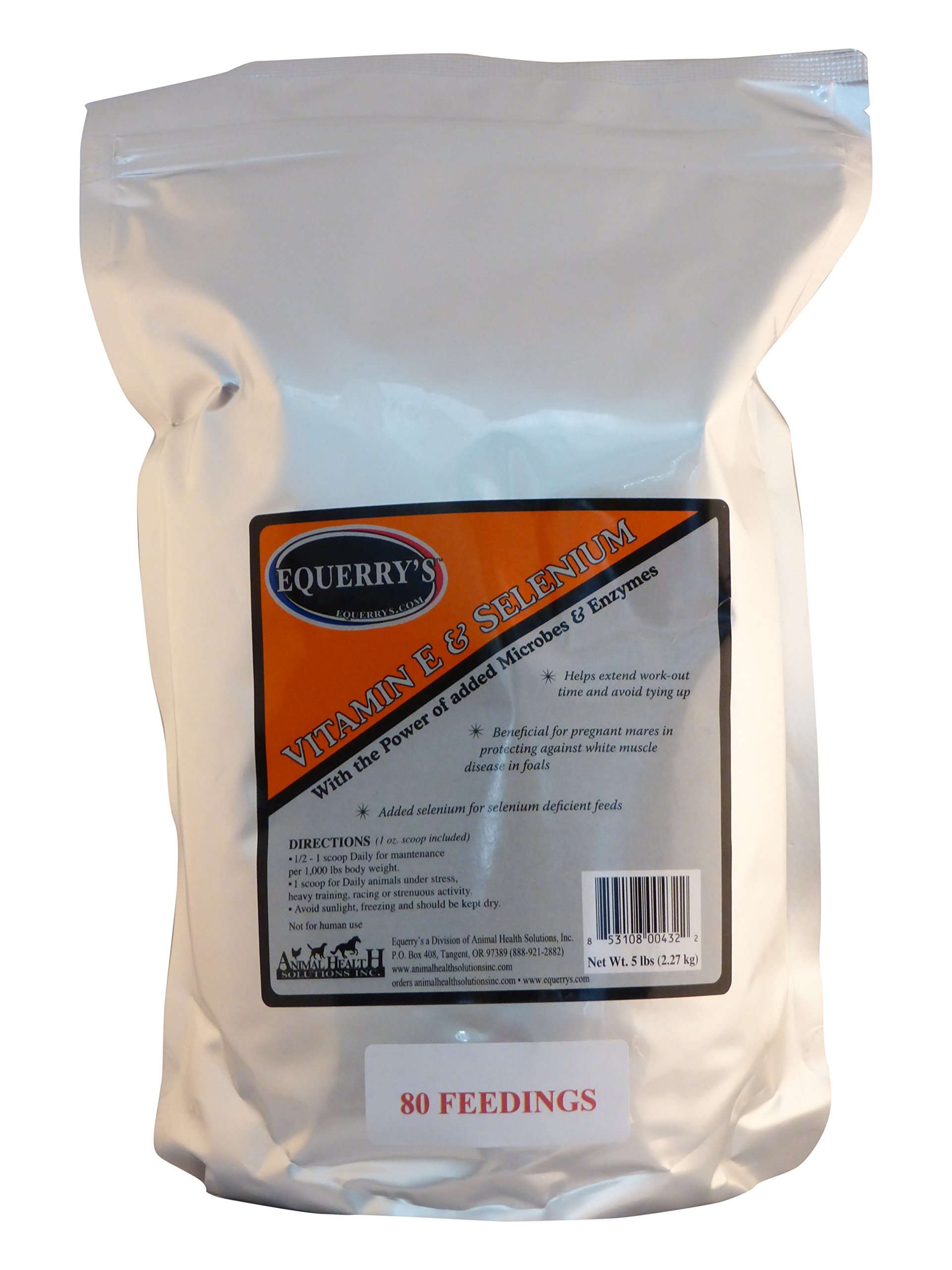 Equerry's Vitamin E and Selenium 1 oz. Provides 2000 IU's of Vitamin E and 2 mg Organic Selenium, 5lb. by Equerry's
