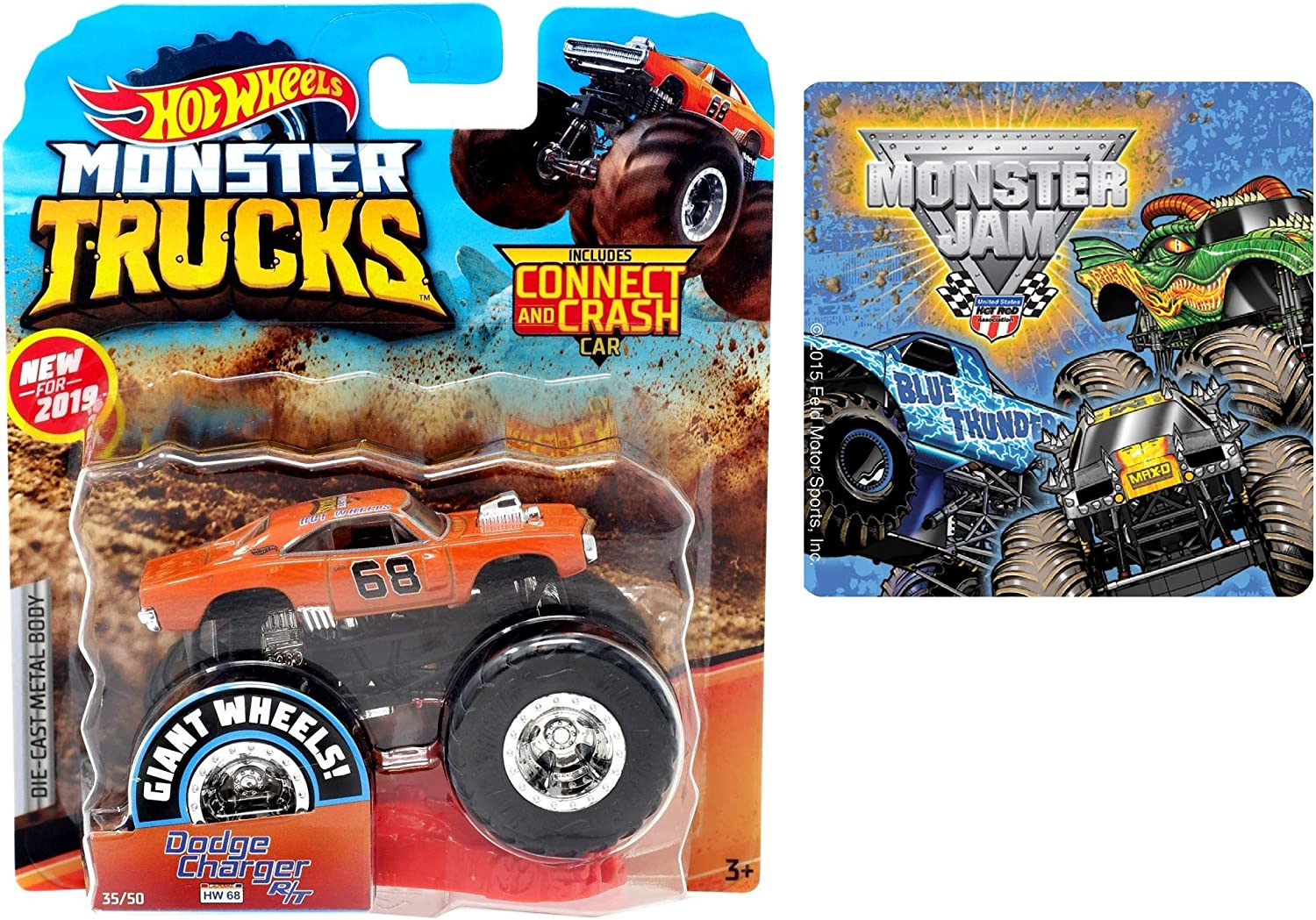 Amazon Com Hot Wheels 2019 Monster Trucks Dodge Charger R T Hw 68 One Monster Jam Sticker 2 Items Bundle Toys Games