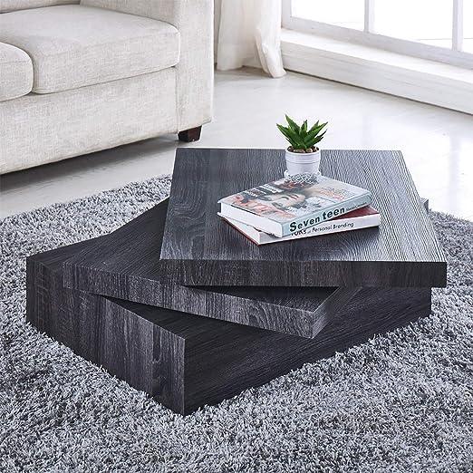 Amazon Com Black Coffee Table Oak Square Rotating Contemporary