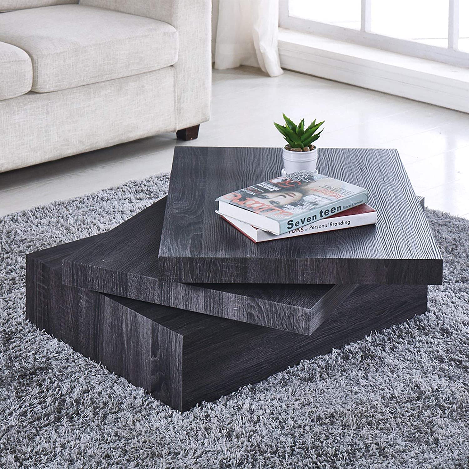 Black Coffee Table Oak Square Rotating Contemporary Modern Living Room Furniture