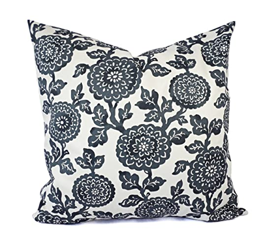 65a62579efb Charcoal Pillows - Grey and White Floral Pillow Cover - Custom Pillow Sham  - Decorative Pillow Case - 16 x 16 Inch 18 x 18 Inch 20 x 20 Inch Throw  Pillow