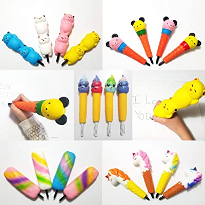 JM Unicorn/Cat/Ice Cream/Bear/Rainbow Popsicle Squishy Pens/Pencil Grips Toppers Holders Slow Rising Scented Squishies Kids Party Favors/Classroom/Stress Toys/Birthday/Gift (Ice Cream 4 Pack): Toys & Games