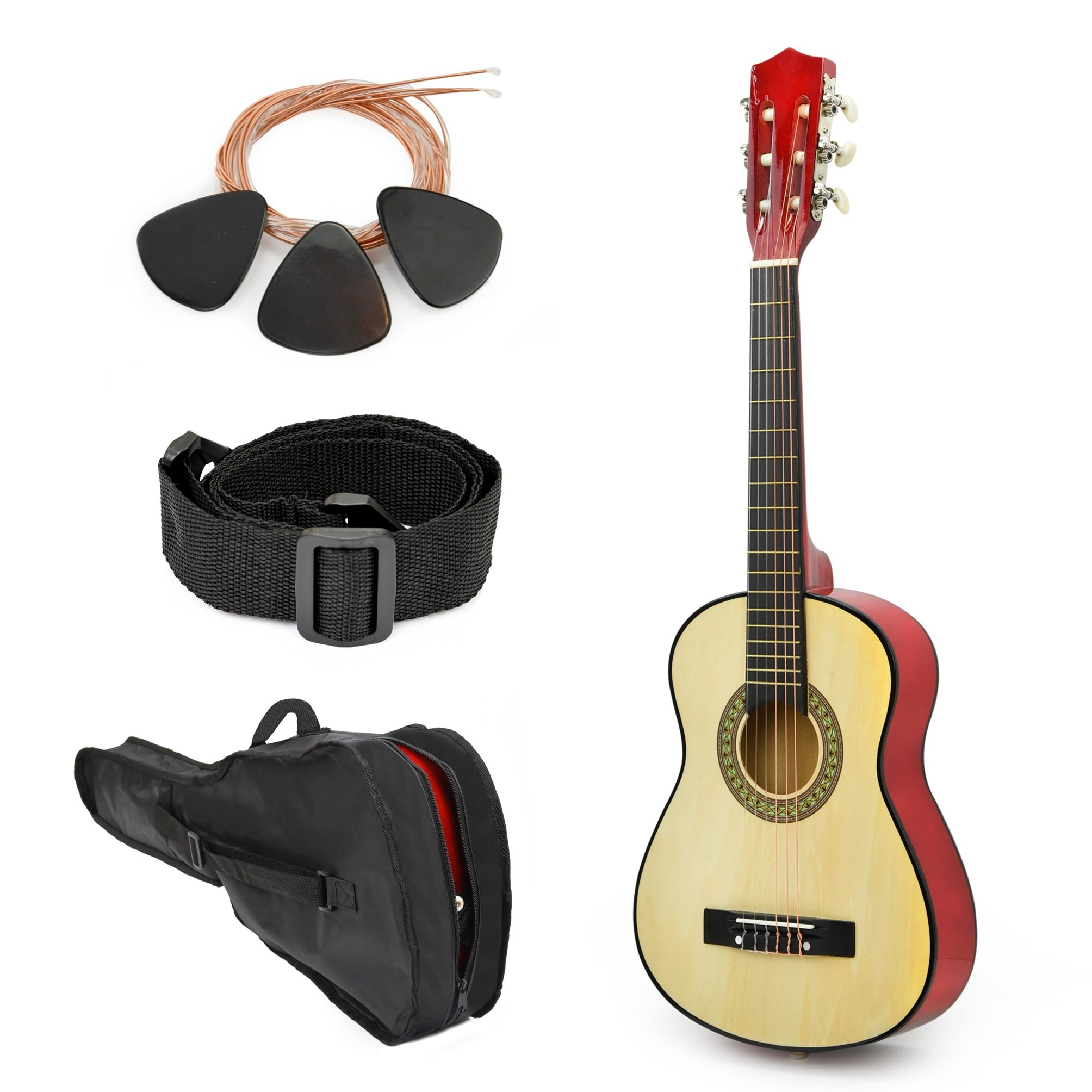 NEW! 30'' Left Handed Natural Wood Guitar With Case and Accessories for Kids/Boys/Beginners by Master Play