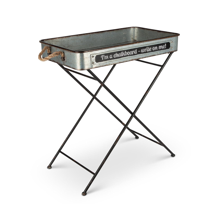 "Amazon 24"" Long Galvanized Metal Tray Folding Table Home"