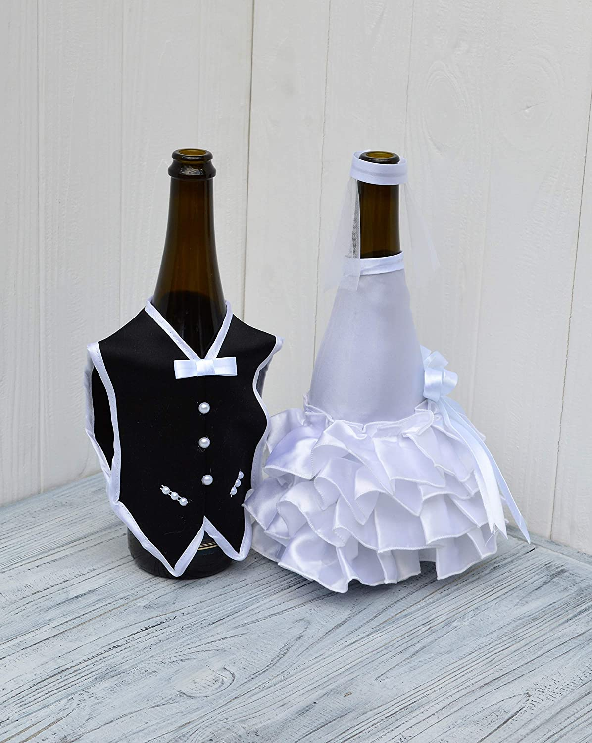 Buy Bride and Groom Wine Bottle Covers- Wine Bottle Dress-up for Weddings-  Wedding Gifts for The Couple- Fun Wine Bottle Covers- Wedding Centerpieces  Decorations- Wine décor- Wine Accessories (White) Online at Low